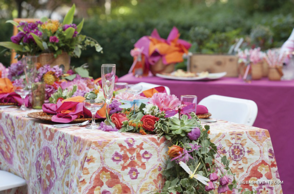 Beacon Hill Garden Party Event, a lush floral table runner adorns the festive table, Boston Event Planner, Boston Event Planning, Boston Event Stylist, Boston Event Styling